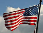 American Flag Flapping in Wind