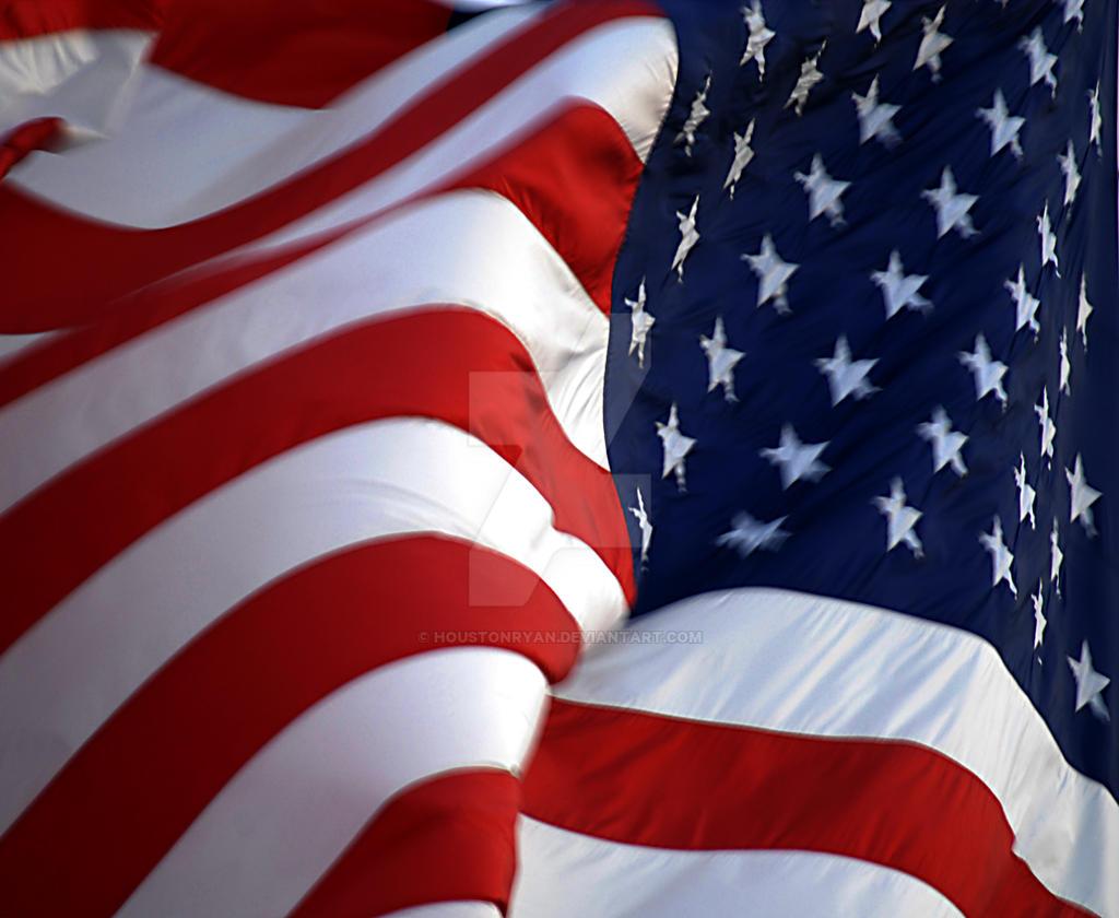 American Flag Billowing Wind by houstonryan