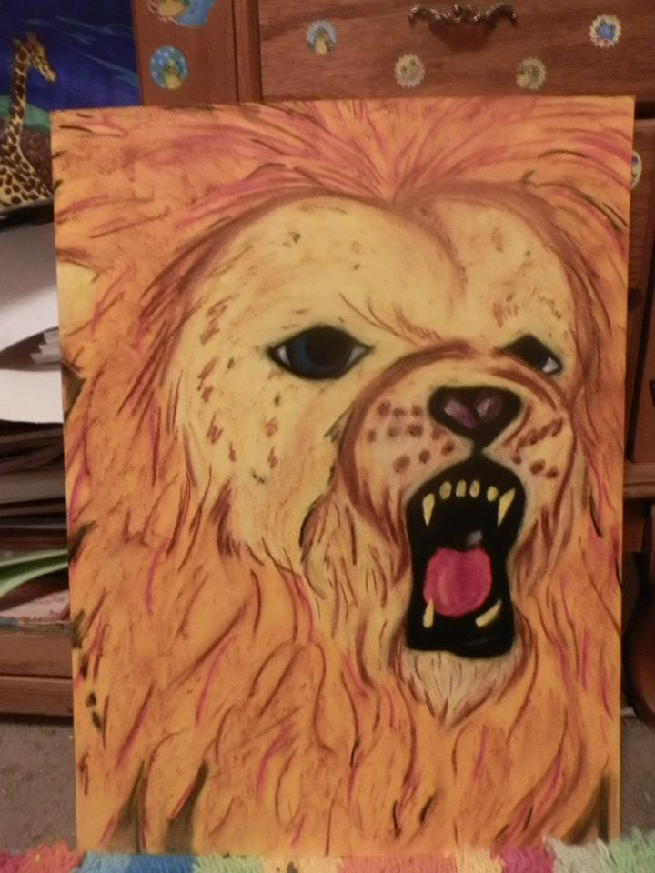 oil pastel lion by Chyliethecrazy1