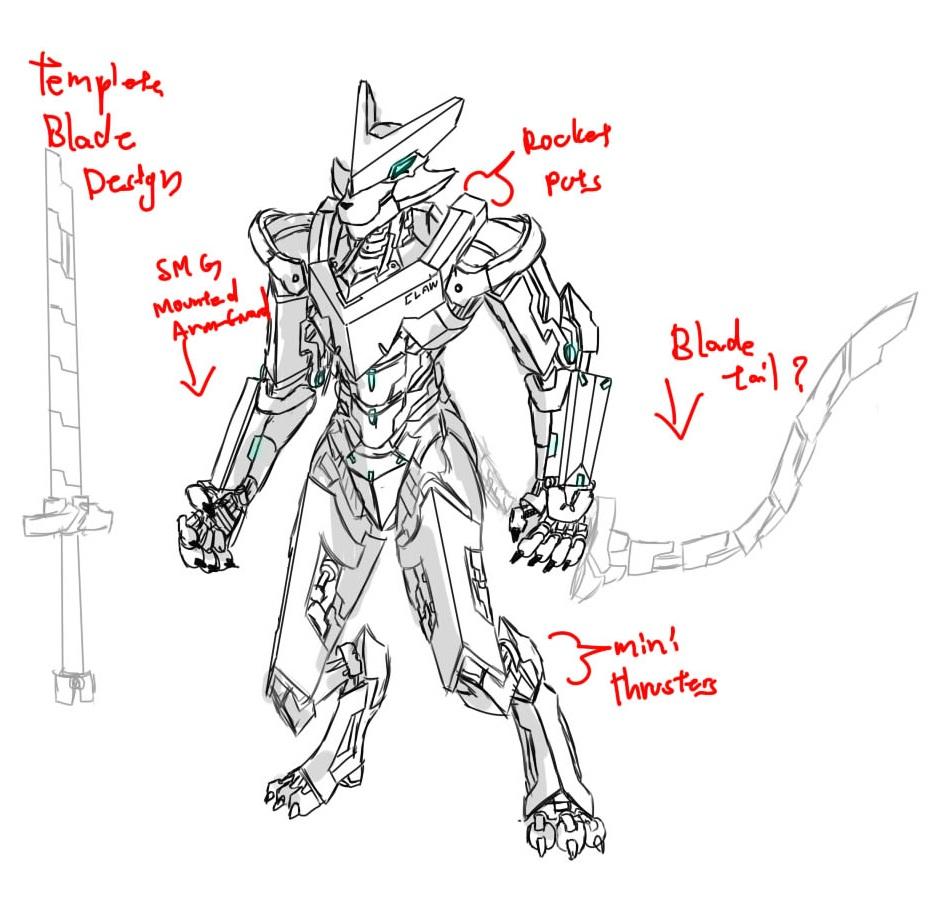 Mecha furry, metal claws (WIP) by mangakitsune2