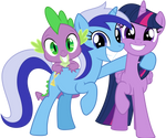 Spike, Minuette and Twilight Sparkle...