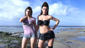 Poser Abella Danger with Gianna Michaels beach