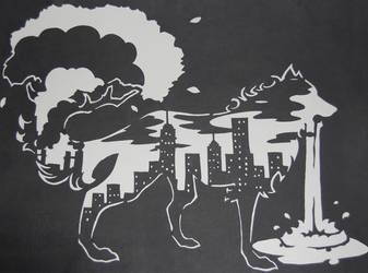 Wolf Cutout - Urbanization by frozensandstorm