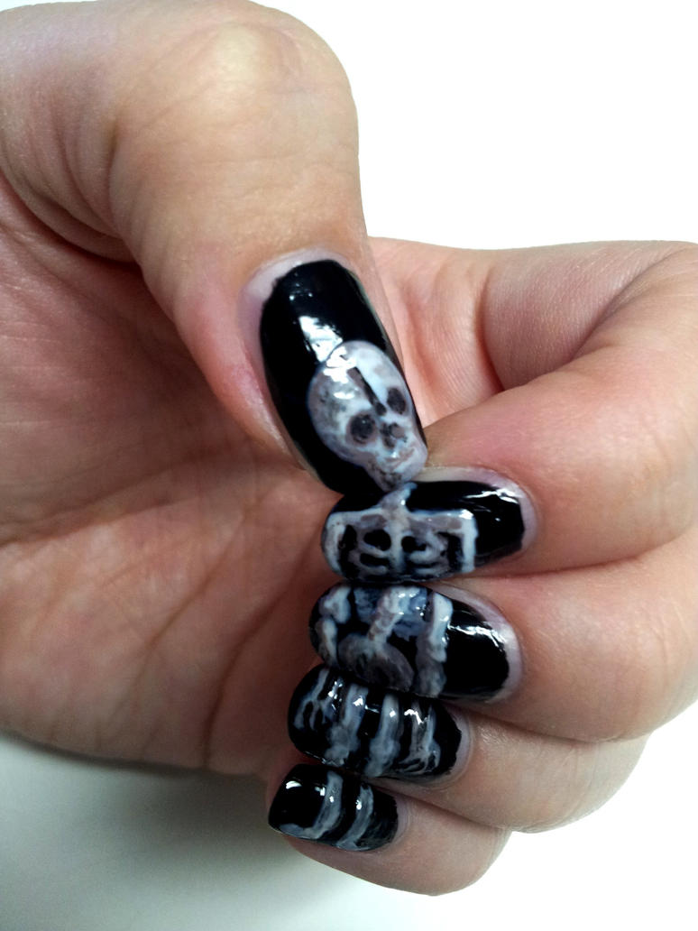 Skeleton Nail Art By Aniapaluch On Deviantart