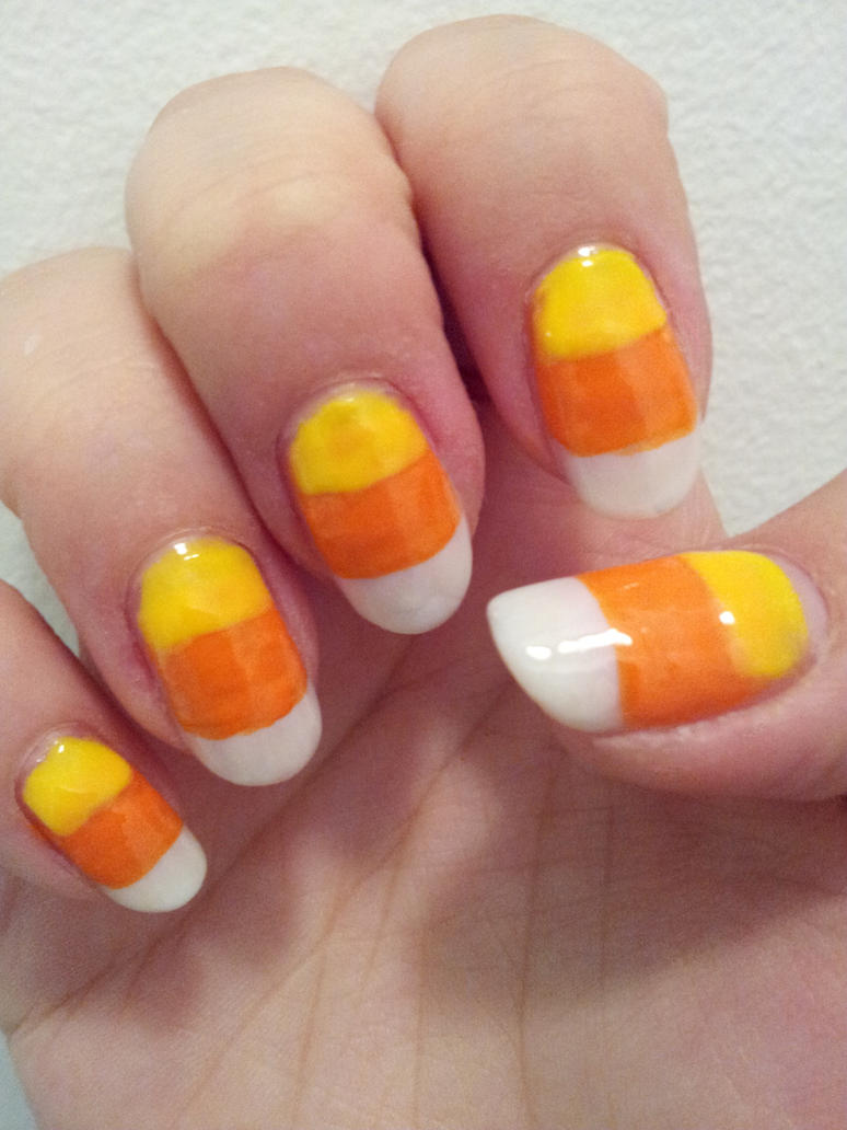 Candy Corn Nail Art By Aniapaluch On Deviantart