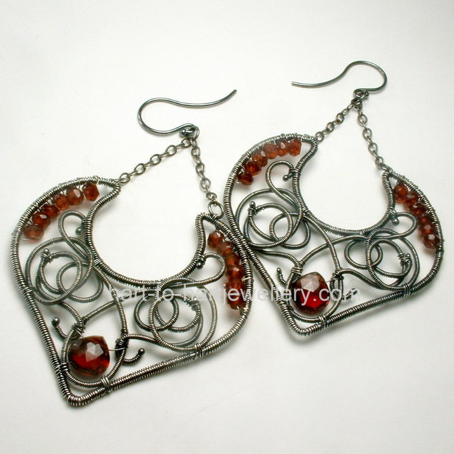 Artisan Earrings : Red garnet argentium wire wrapped artisan earrings by