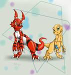 Guilmon and Agumon