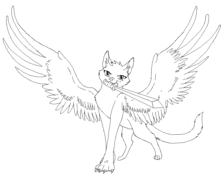 D Line Drawings Quest : Winged cat lines by demonickitty on deviantart