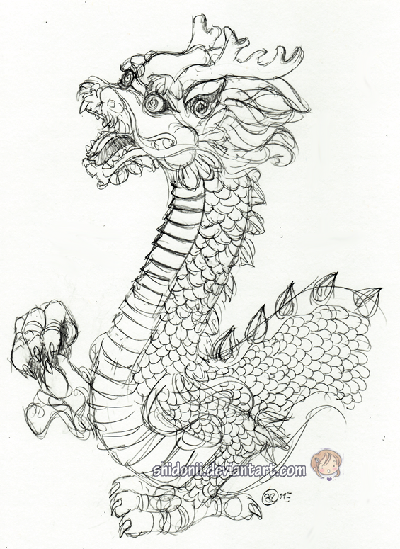 Easy Chinese Dragon Sketches Chinese dragon sketch by Easy Chinese Dragon Sketch