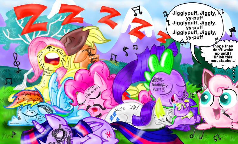 The mane 6( and Spike) hear Jigglypuff's song by seriousdog