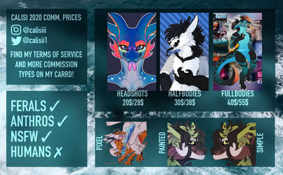 Calisi 2020 Commission Price Sheet!