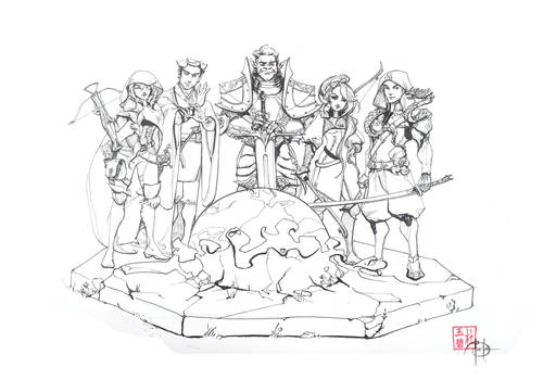 Dnd Party Hand drawn