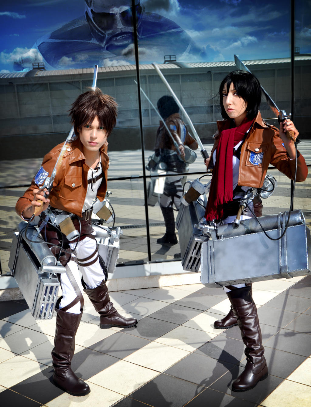 Colossal Attacking, Mikasa and Eren Cosplay by hakucosplay