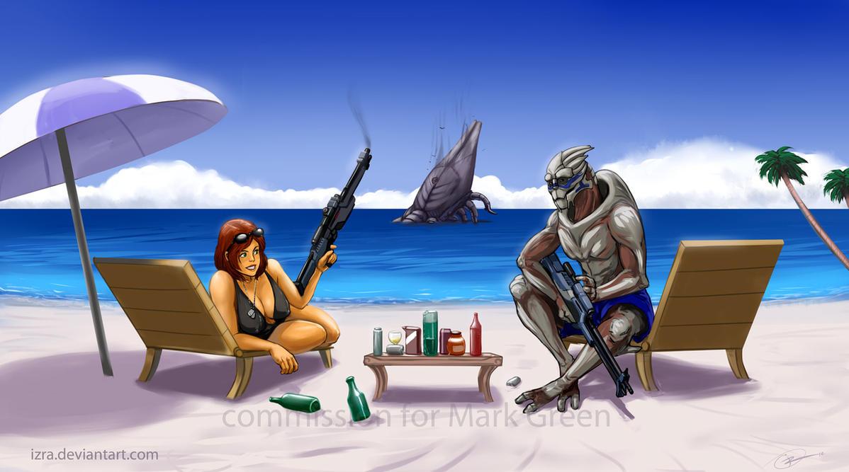 SheppardXGarrus Beach - comm by IZRA