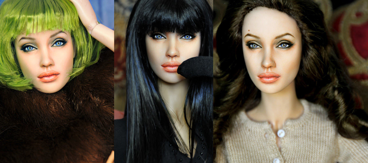 Doll Repaint as Angelina Jolie by noeling