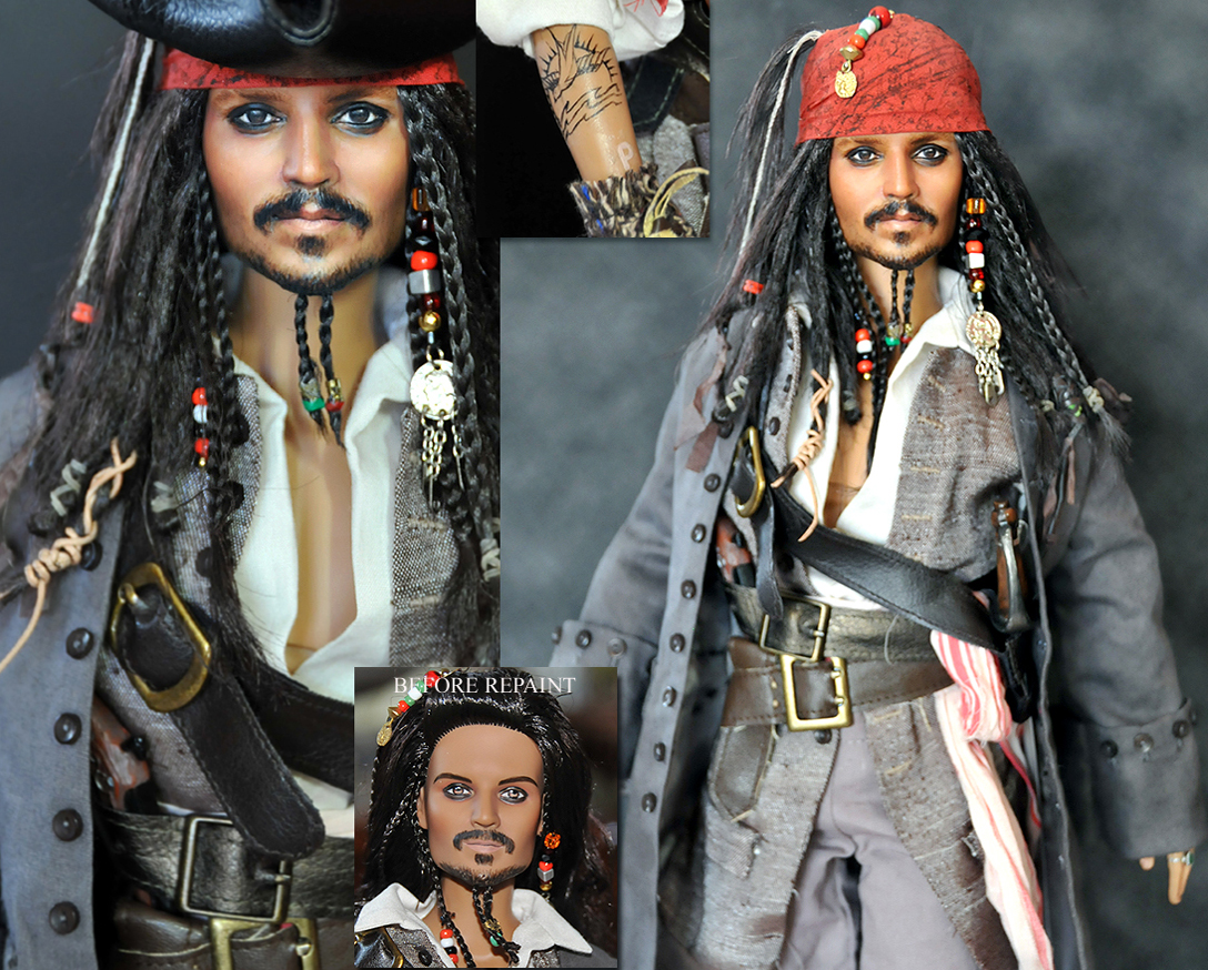doll repaint - Jack Sparrow by noeling