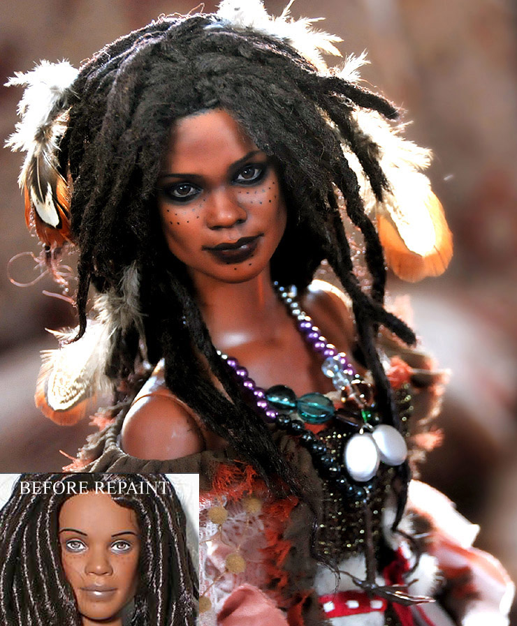 Doll repaint - Tia Dalma by noeling
