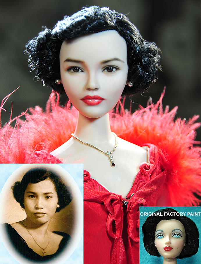Doll Repaint - My dearest Mom Carmen Cruz by noeling