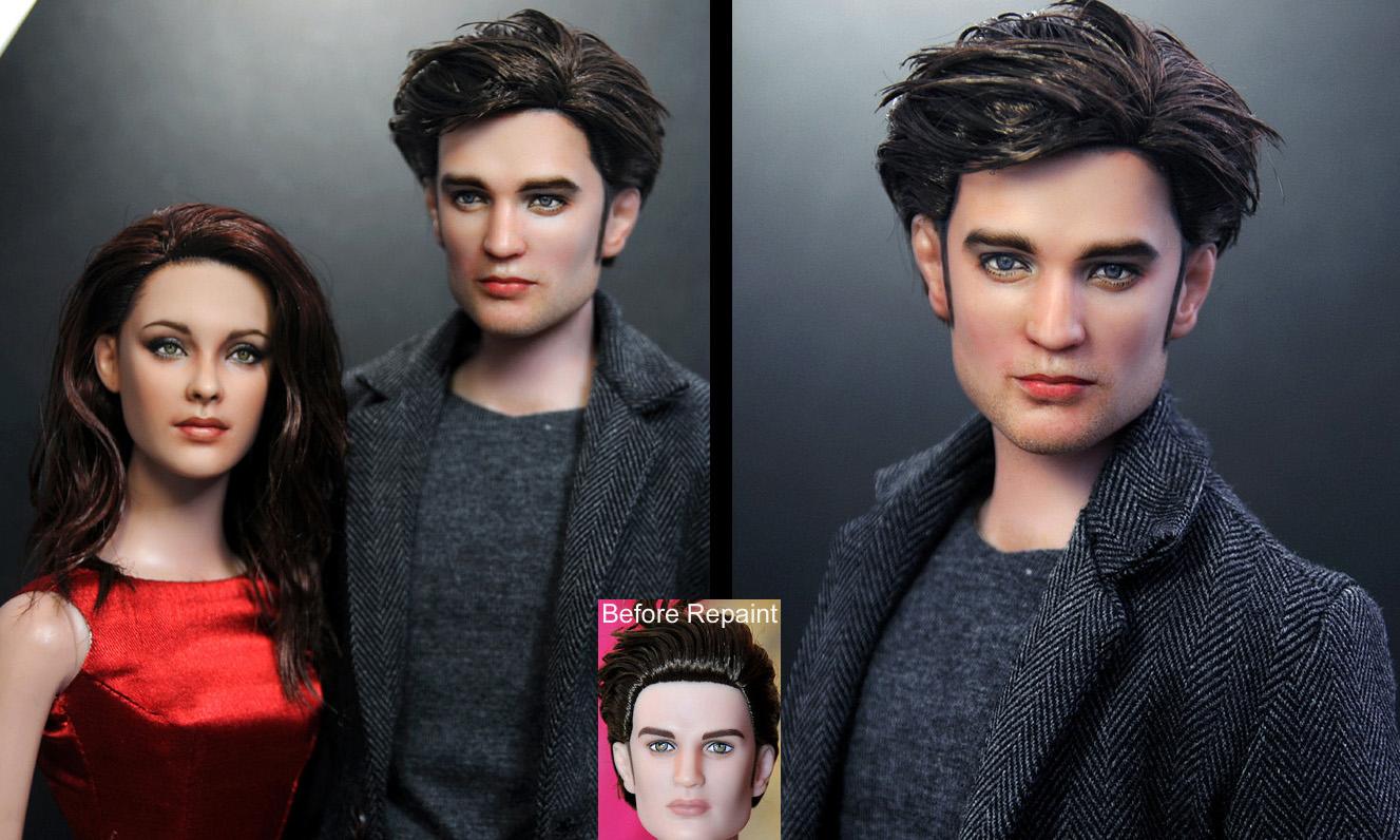Robert Pattinson repaint doll by noeling