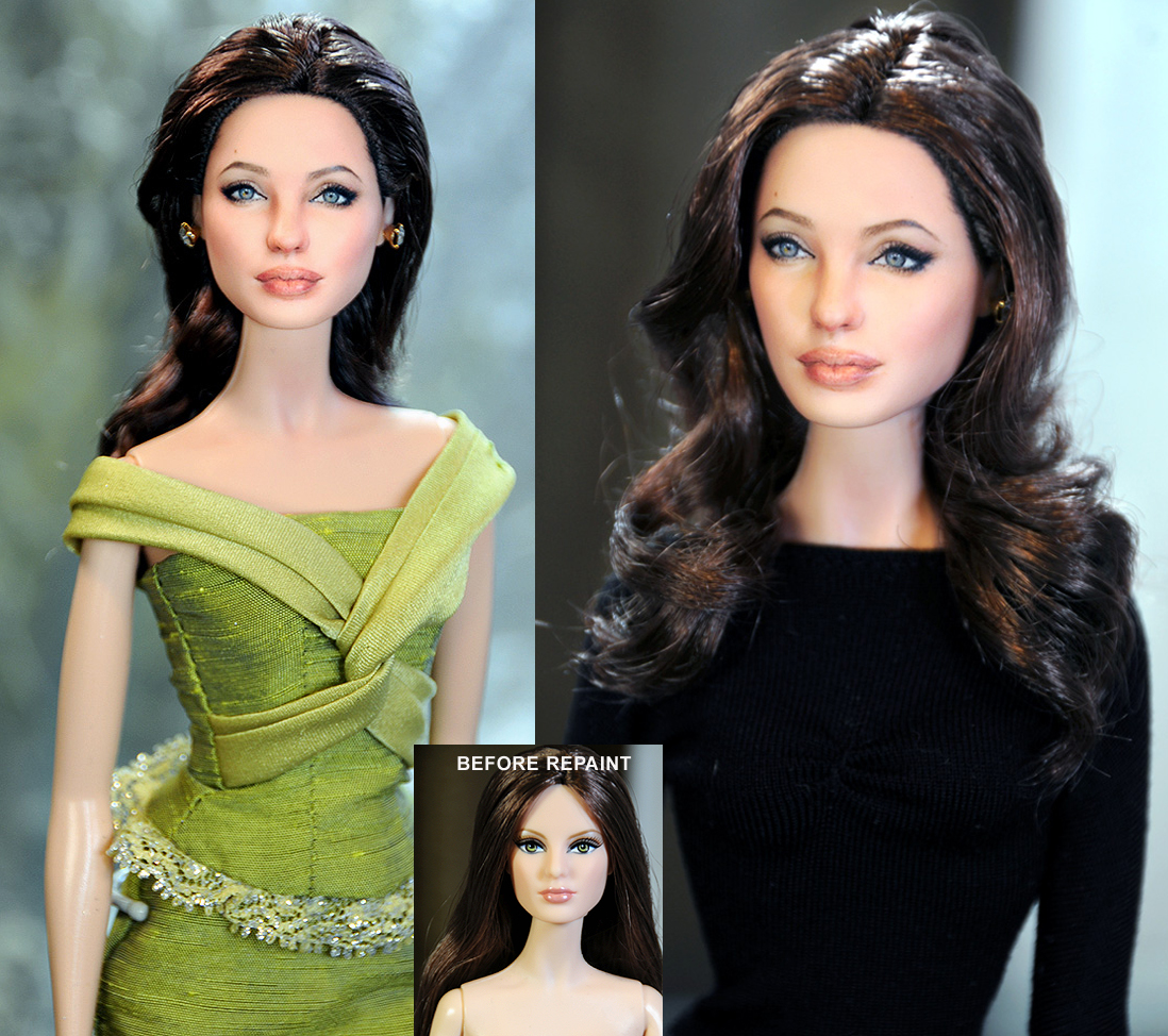Custom Angelina Jolie Doll Repaint by noeling
