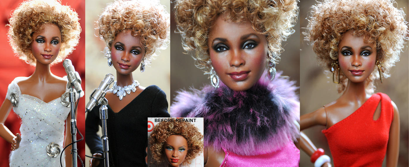 Whitney Houston custom tribute doll repaint by noeling
