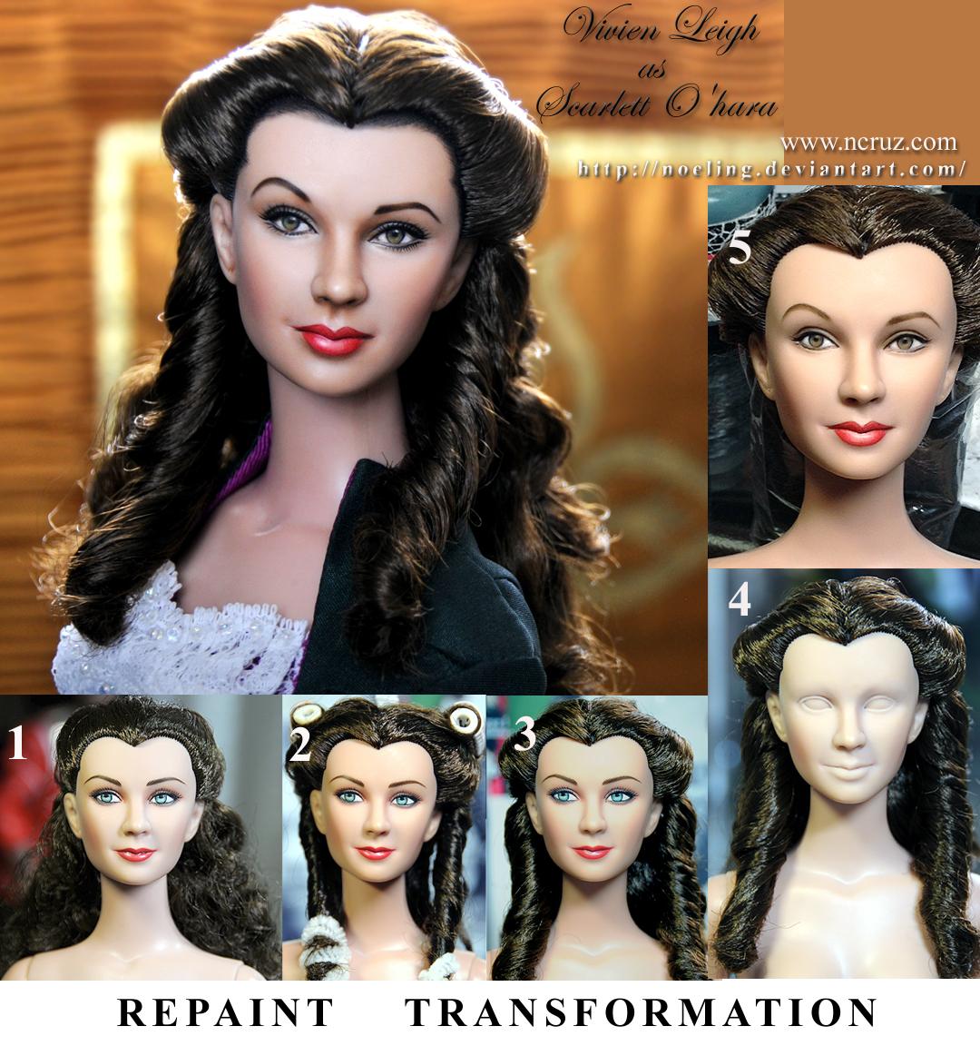 custom doll repaint Vivien Leigh  Scarlett O'hara by noeling