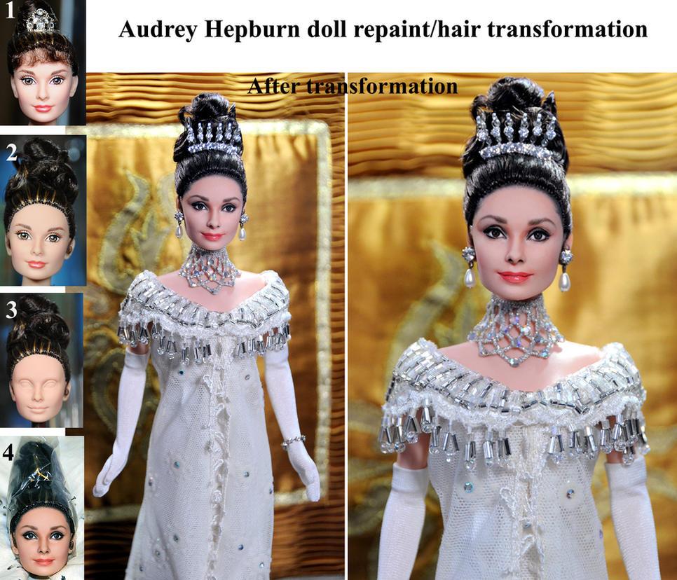 Audrey Hepburn My Fair Lady doll repaint steps by noeling on DeviantArt