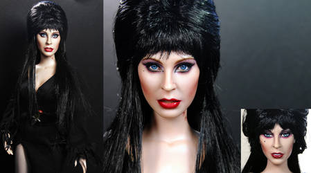 Cassandra Peterson aka Elvira custom doll repaint by noeling