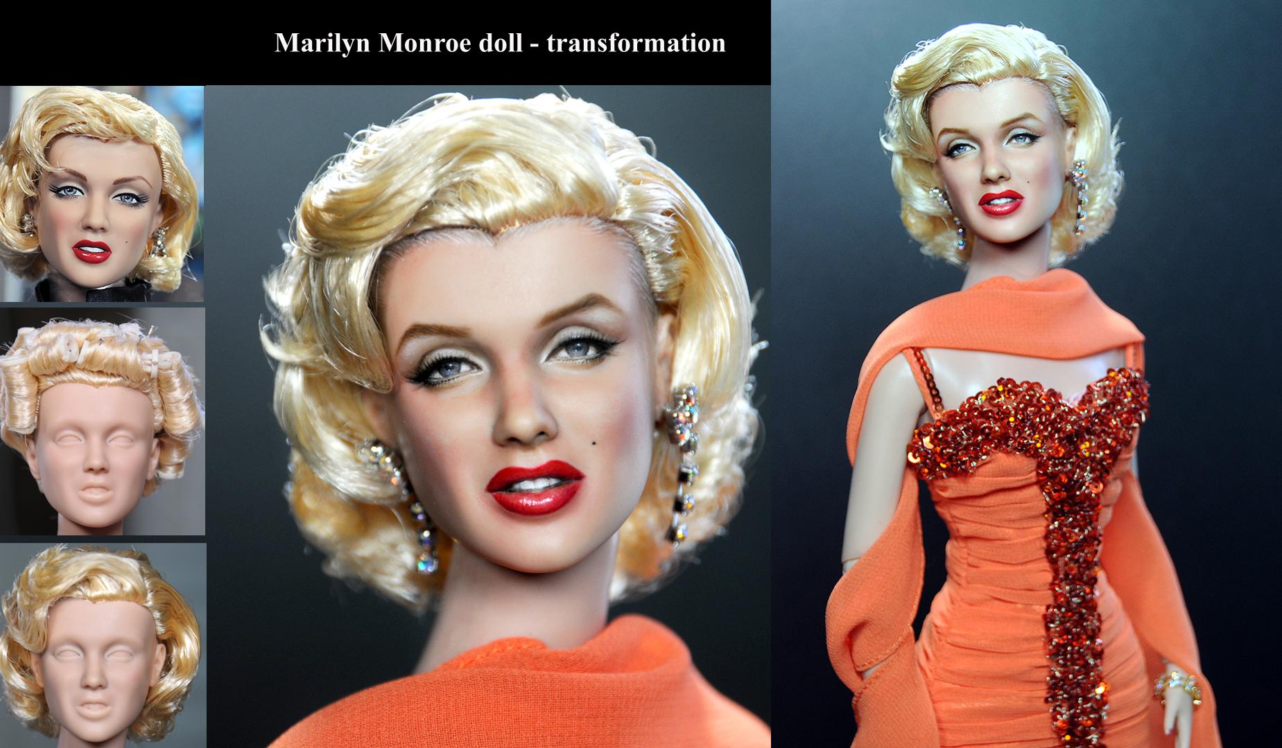 Marilyn Monroe custom doll repaint transformation by noeling