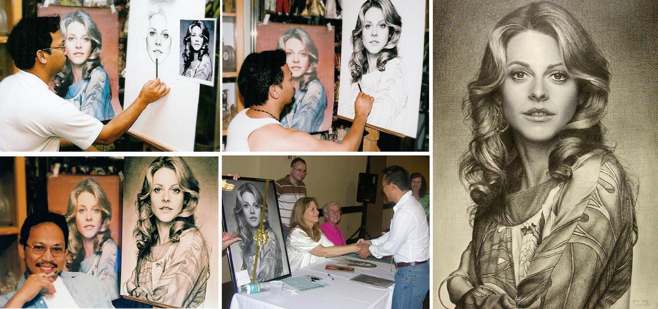 Creating Lindsay Wagner portrait by Noel Cruz by noeling