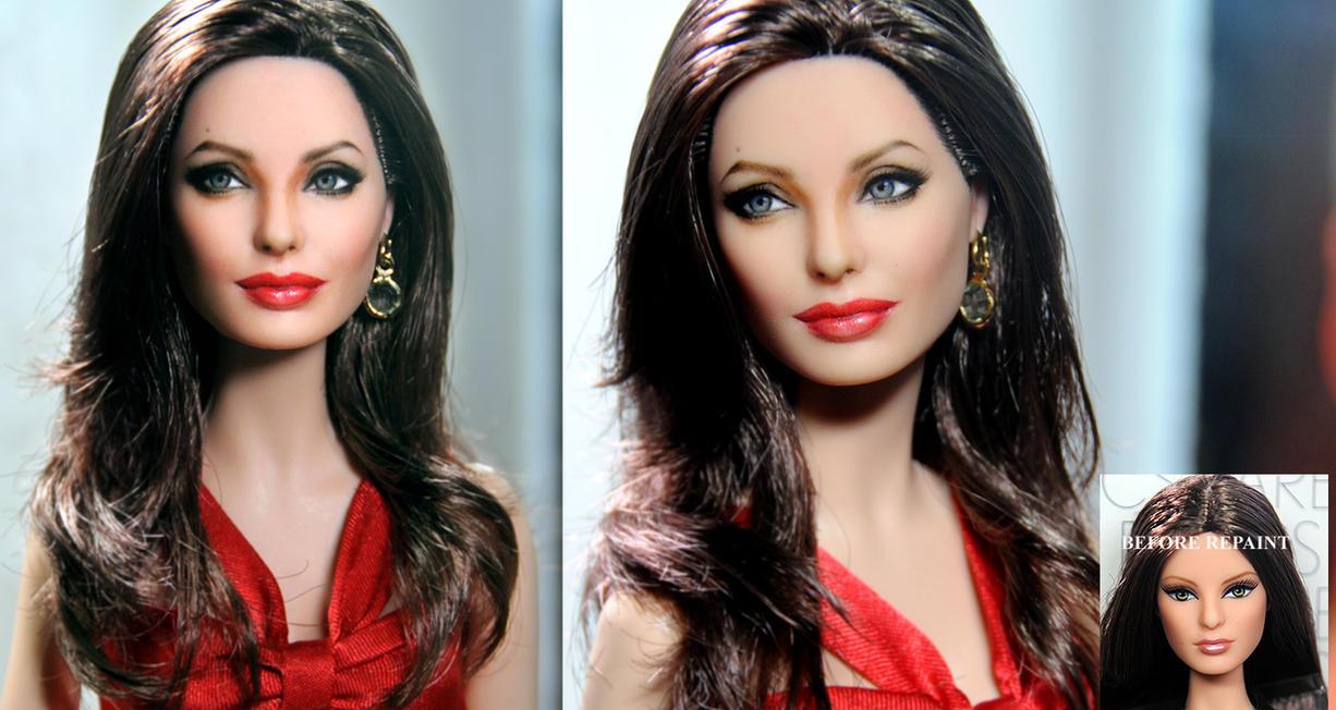 Angelina Jolie custom doll art repaint by noeling