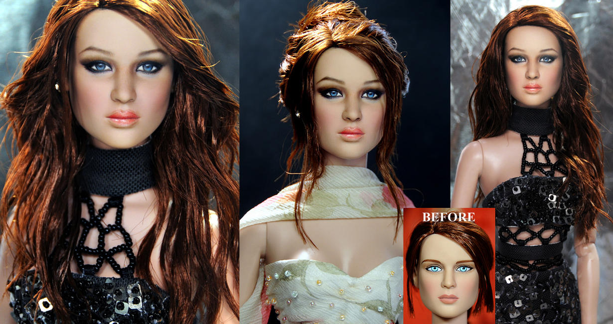 Jennifer Lawrence custom doll art repaint by noeling