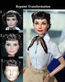 Roman Holiday Audrey Hepburn custom doll repaint