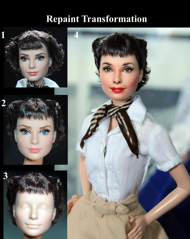 Roman Holiday Audrey Hepburn Custom Doll Repaint By Noeling On