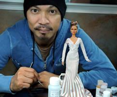 with custom Jennifer Lopez doll