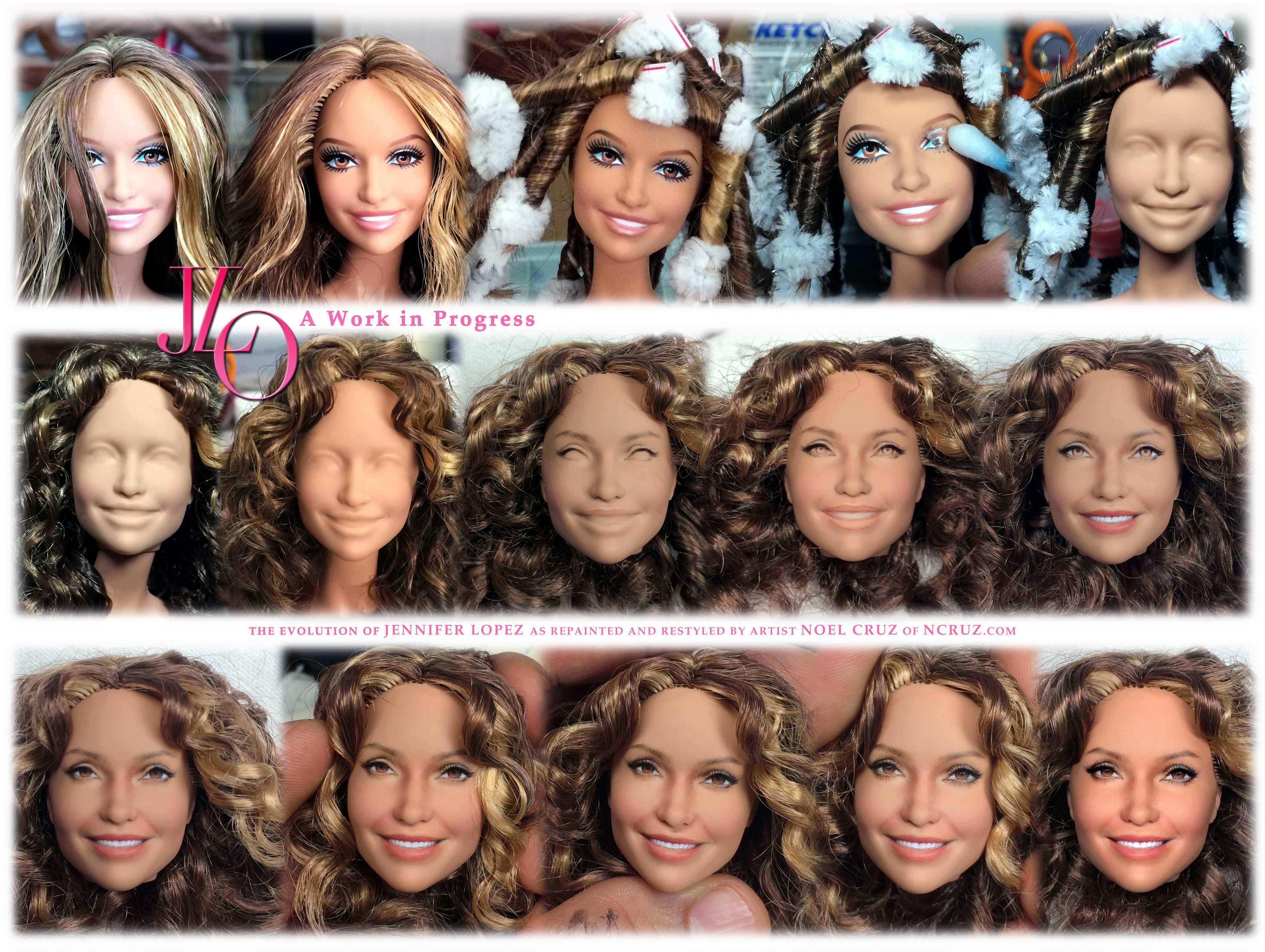 Jennifer Lopez doll repaint WORK IN PROGRESS by noeling