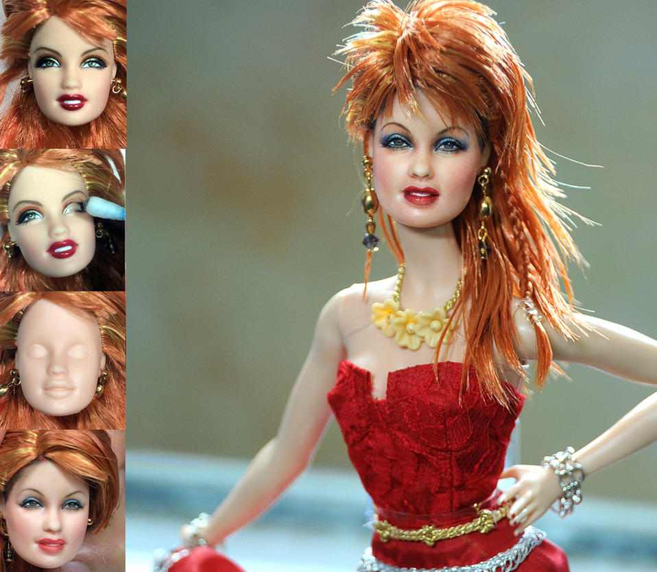 Cyndi Lauper custom doll repaint transformation by noeling