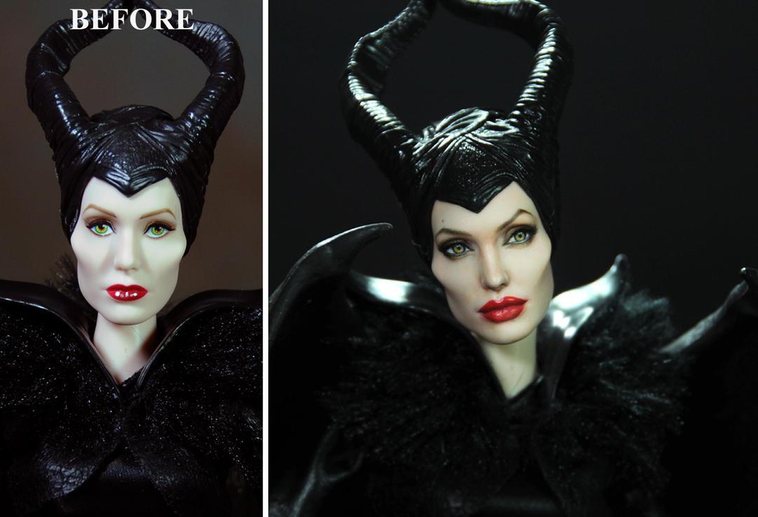 Doll Repaint Angelina Jolie Maleficent - Noel Cruz by noeling