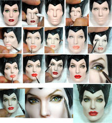 Repaint Process - Angelina Jolie Maleficent doll