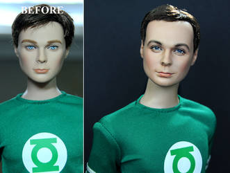 custom repaint Big Bang Theory Sheldon Cooper doll by noeling