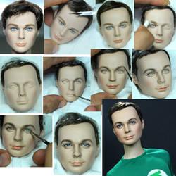 Big Bang Theory Sheldon Cooper doll repaint steps