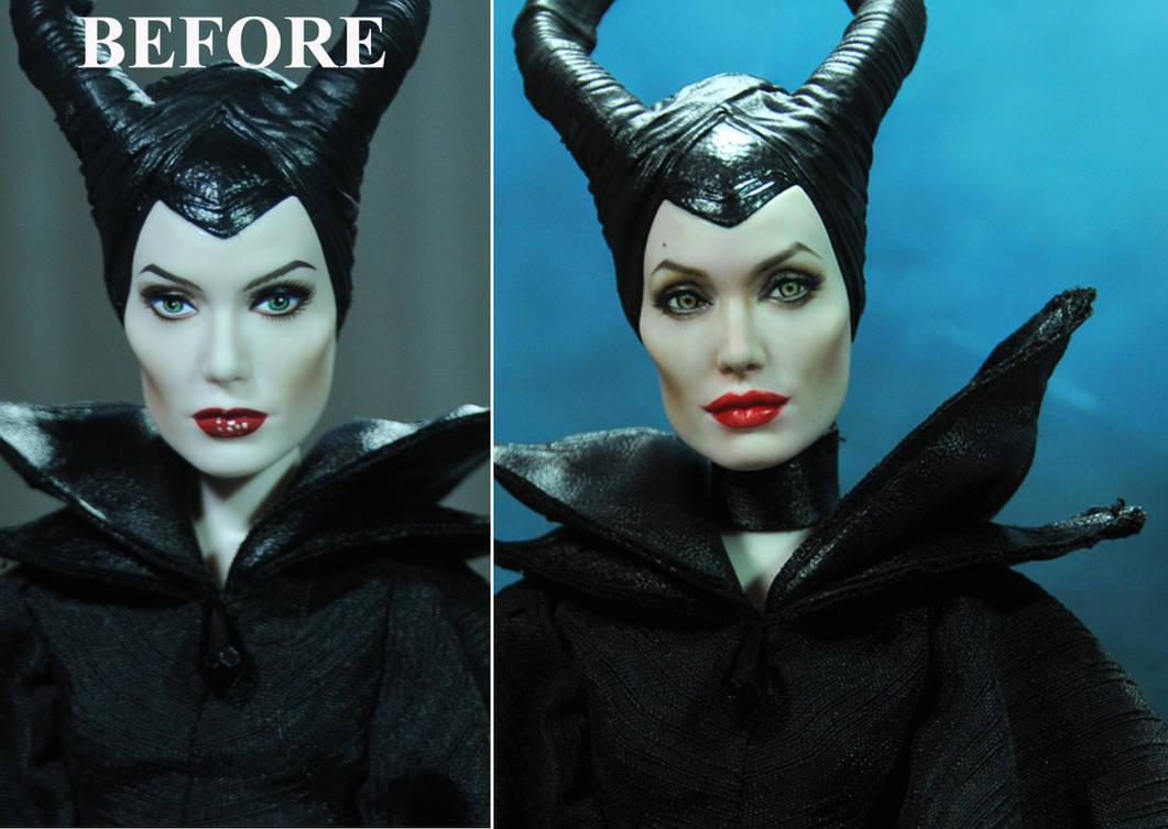 Doll Repaint Angelina Jolie Maleficent Disney vers by noeling