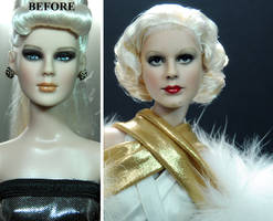 Jean Harlow custom doll repaint by Noel Cruz