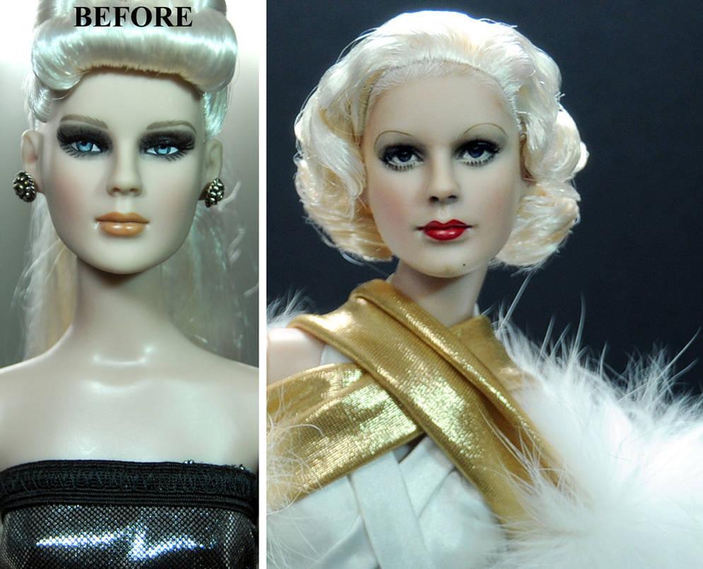Jean Harlow custom doll repaint by Noel Cruz