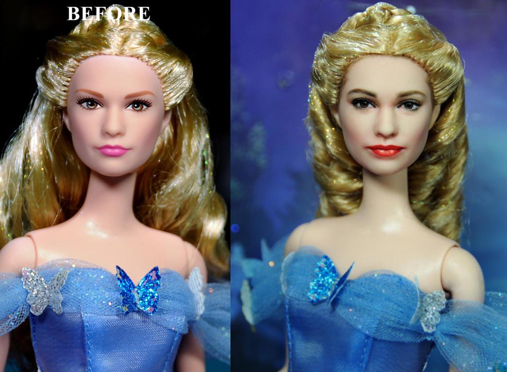 Cinderella 2015 Lily James doll custom repaint by noeling