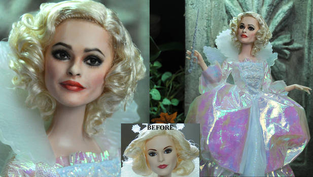 Helena Bonham Carter Fairy Godmother doll repaint