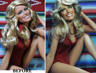 Farrah Fawcett Charlie's Angels doll repaint by noeling