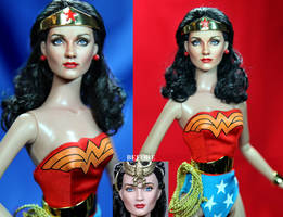 Doll Repaint - Lynda Carter as Wonder Woman by noeling