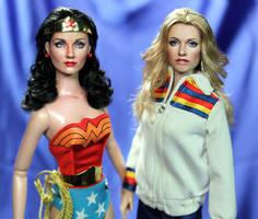 Wonder Woman Lynda Carter meets Bionic Woman doll by noeling