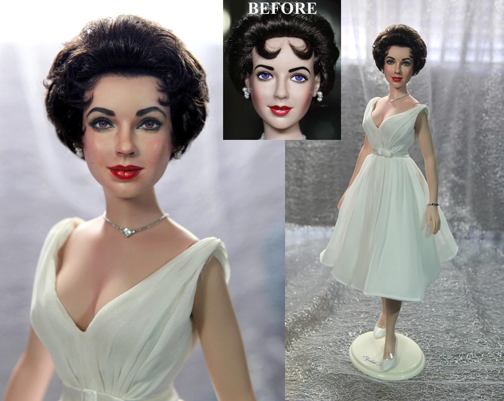 osw.zone Elizabeth Taylor doll repaint by Noel Cruz